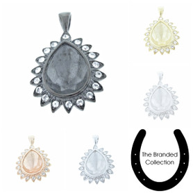 The Branded Collection - 18mm x 13mm Pear Single Pendant With Crystal Pave 1 Piece