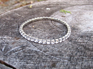 LVR 4mm Stretch Bracelet Made With Swarovski Crystals in Rhodium 1 Piece - Customizable Colors & Finishes Available!
