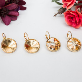 18mm Round   Casted Drop Earrings   One Pair