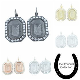The Branded Collection - 18mm x 13mm Octagon Lever Back Casted Earrings With Crystal Pave