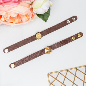 18mm   One Setting Classic Leather Bracelet   One Piece