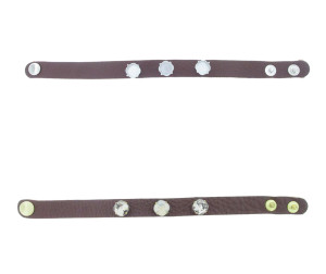 The Branded Leather Line - Classic Leather Bracelet With Three 10mm Square Cushion Cut Riveted Empty Settings