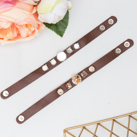 8.5mm & 14mm | Five Setting Classic Leather Bracelet | One Piece