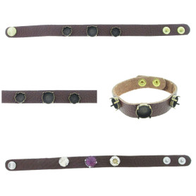 The Branded Leather Line - Classic Leather Bracelet With One 12mm Rivoli Round and Two 10mm Square Cushion Cut Riveted Empty Settings