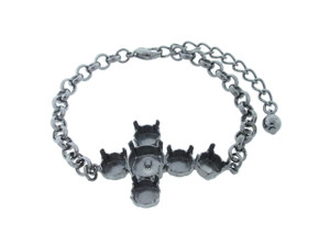 8.5mm (39ss) & 11mm Cross Empty Bracelet  - Smooth, Small Smooth Or Textured Rolo Chain
