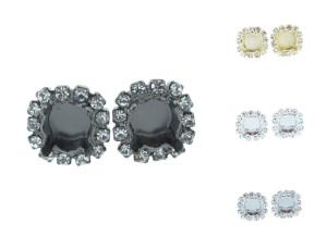 8.5mm (39ss) Empty Stud Earrings With Crystal Rhinestones