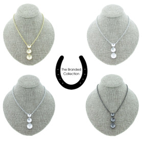 The Branded Collection - 8.5mm (39ss), 11mm (47ss), & 12mm Rivoli Round Three Station Drop Casted Necklace