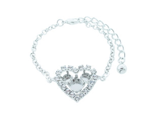 6mm (29ss) & 8.5mm (39ss) Small Heart With Crystal Rhinestones Empty Bracelet
