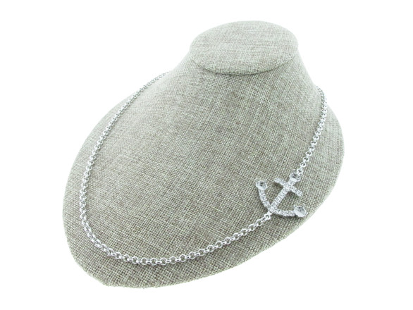 6mm (29ss) Empty Off Center Anchor Necklace With Crystal Rhinestones Rhodium