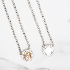 12mm Square | Crystal Halo Pendant Necklace | One Piece