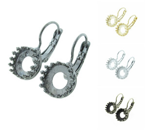 8.5mm (39ss) Crown Open Back Lever Back Earrings
