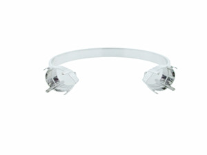 Cuff Bracelet with Two 18mm x 13mm Pear Empty Settings On Ends Rhodium