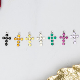 Cross Charms Made With Swarovski Crystals   12 Pieces