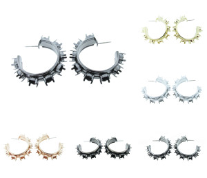 6mm (29ss) 8 Box Hoop Earrings for swarovski crystals