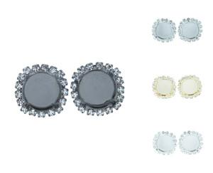 12mm Rivoli Round Empty Stud Earrings With Crystal Rhinestones