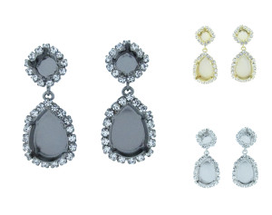 8.5mm (39ss) and 18mm x 13mm Pear Empty Dangle Stud Earrings With Crystal Rhinestones
