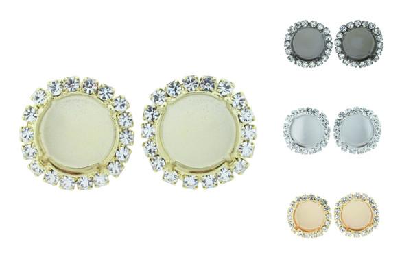 14mm Rivoli Round Empty Stud Earrings with Crystal Rhinestones One Pair