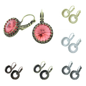 12mm Rivoli Round Crown Open Back Lever Back Earrings