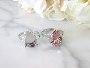 14mm x 10mm Pear | Classic Band Adjustable Ring | Three Pieces