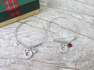 8.5mm | Wreath Charm Bangle Bracelet | One Piece