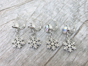 8.5mm (39ss) One Box Lever Back Empty Earrings With Snowflake Charm One Pair