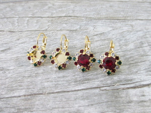 8.5mm (39ss) One Box Earrings With Red, Green, And White Rhinestones | One Pair