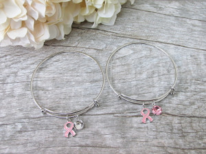 8.5mm | Breast Cancer Awareness Ribbon Charm Bangle Bracelet | One Piece