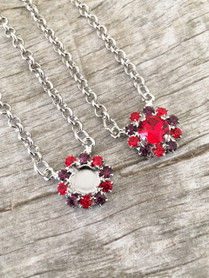 8.5mm One Setting Necklace With Red and Purple Rhinestones | One Piece | Limited Edition