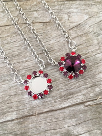 12mm Rivoli Round One Setting Necklace With Red and Purple Rhinestones | One Piece | Limited Edition