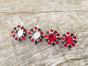 8.5mm One Box Earrings With Red and Purple Rhinestones | One Pair | Limited Edition