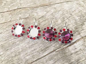 12mm Rivoli Round One Box Earrings With Red and Purple Rhinestones | One Pair | Limited Edition