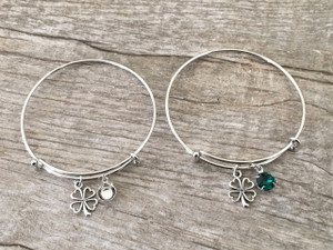 Four Leaf Clover Charm With One 8.5mm (39ss) Empty Setting Expandable Bracelet | One Piece