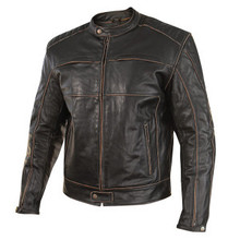 Brown Charcoal  Mens Distressed Buffalo Leather Motorcycle Jacket  by Xelement