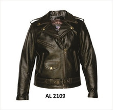 A1 Retro Brown Womens Premium Buffalo Leather Biker Jacket