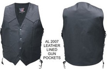 Mens Cowhide Black Gun Pocket W/ Holster Leather Motorcycle Biker Vest