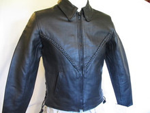 Black Braided Xelement Womens Leather Motorcycle Biker Jacket CLOSEOUT Retail $199