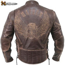 Brown Distressed Traditional style Mayhem Cowhide  Leather Motorcycle Biker Jacket