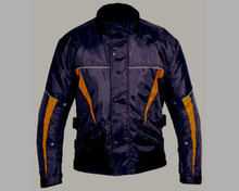 Waterproof Insulated Armored Motorcycle Biker Jacket Orange Trim CLOSEOUT