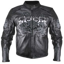 3 Flaming Skulls Reflective Motorcycle Biker Jacket