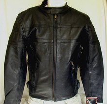Black Premium Mens Naked Leather Cruiser Vented motorcycle biker Jacket ON SALE