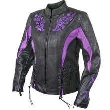 Black Armored Purple Embroidered Womens Leather Motorcycle biker Jacket