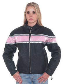 Ladies /  Womens Pink & Black  Leather Motorcycle Jacket