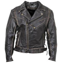 Antique Brown Rub-Off Leather Motorcycle Jacket Mens Retail $229