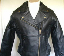 LADIES WOMENS BLACK BRAIDED TRADITIONAL LEATHER MOTORCYCLE JACKET W/NECK WARMER