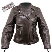 A Armored Womens Braided retro Brown Leather motorcycle biker Jacket