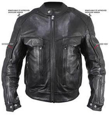 Bandit Buffalo Black Leather Cruiser Motorcycle Jacket with Level-3 Armor  IN Stock