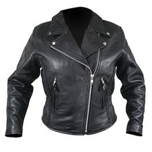 Black Soft Naked Leather Womans Motorcycle biker Jacket CLOSEOUT PRICED