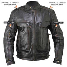 Bandit Retro Brown Buffalo Leather Cruiser Motorcycle Jacket with Level-3 Armor IN STOCK