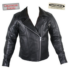 Armored Womens Black Leather Motorcycle biker Jacket CLOSEOUT