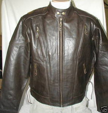 Bigfoot Premium Retro Brown Leather Touring Motorcycle biker Jacket Retail $249